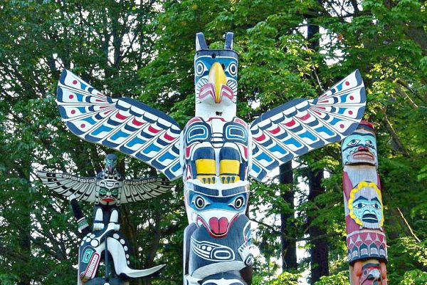 Native Indian totems Vancouver Canada
