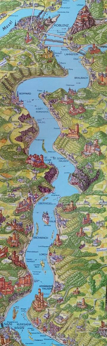 Rhine river map includes castles